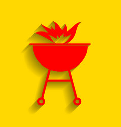 Barbecue with fire sign  red icon with vector