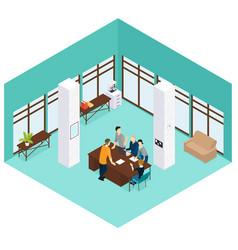 Isometric people teamwork concept vector