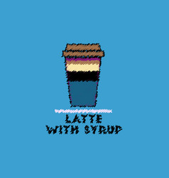 Flat icon design collection latte with syrup vector