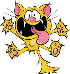 Crazy cat cartoon - spitting and scratching vector