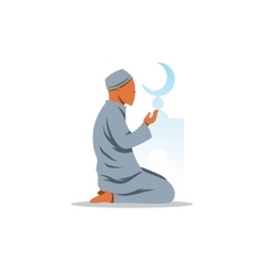 Islamic prayer on his knees turned to god vector