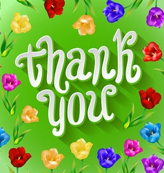 Thank you bright cartoon card made of flowers and vector