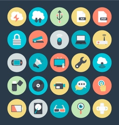 Technology and hardware colored icons 4 vector
