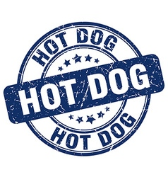 hot dog blue grunge round vintage rubber stamp vector image
