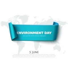 Blue paper ribbon banner for world environment day vector