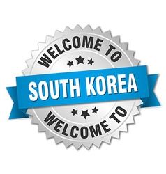 South korea 3d silver badge with blue ribbon vector