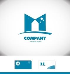 Alphabet letter m flat blue logo icon vector