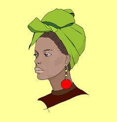 African woman wearing turban vector image