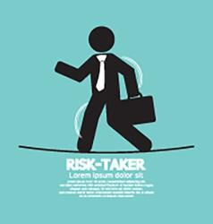 Businessman walk on a line rask-taker concept vector