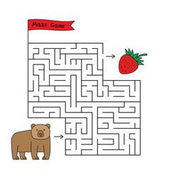 Cartoon bear maze game vector