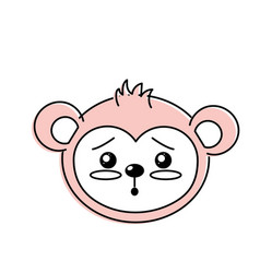Cute wild animal face with expression vector