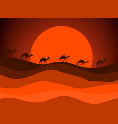 Desert landscape with a caravan of camels vector