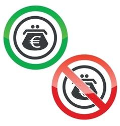 Euro purse permission signs vector