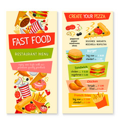 Fast food flat menu design for restaurant vector