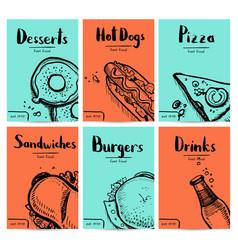 fast food vintage hand drawn graphic design set vector image vector image
