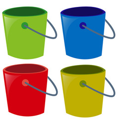 four buckets in different colors vector image vector image
