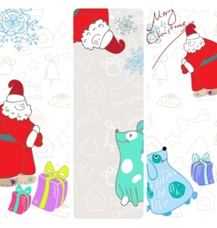 fun christmas banners with blue dogs vector image vector image