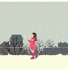 Girls wearing jacket in snow enjoy cold weather vector