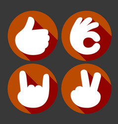 hands gesture icons set vector image vector image