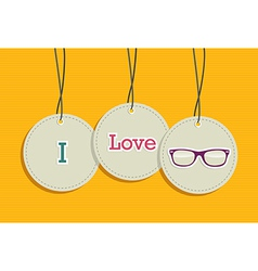 Hanging i love hipsters badges vector image
