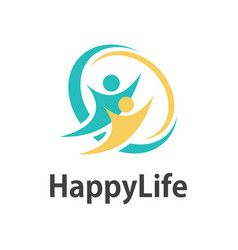 human happy life logo vector image