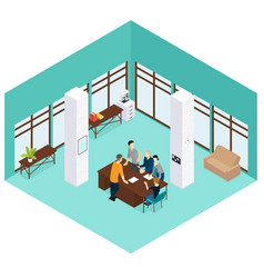 Isometric people teamwork concept vector