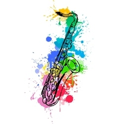 Jazz hand drawn saxophone colored with paint vector image vector image