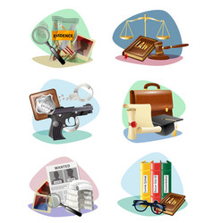 law justice symbols attributes icons collection vector image