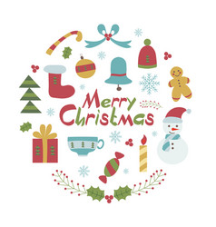 merry christmas card in childish style vector image vector image