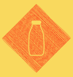 Milk bottle sign red scribble icon vector