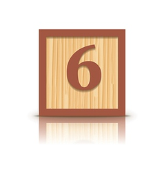 Number 6 wooden alphabet block vector
