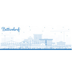Outline bettendorf iowa skyline with blue vector
