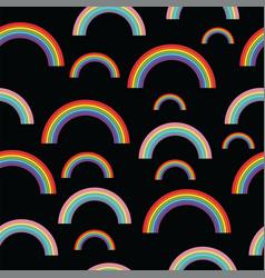 Pastel rainbows on black background - oldschool vector