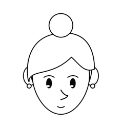 Pictogram face cartoon girl rings vector