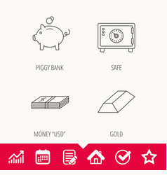 Piggy bank cash money and safe icons vector