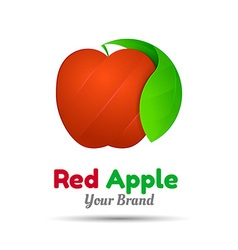 Red apple with two green leaves logo design vector