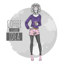 retro hipster fashion animal lion with coffee vector image