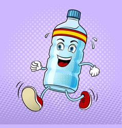run bottle of water pop art vector image vector image