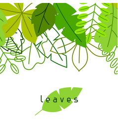 Seamless floral border with stylized green leaves vector