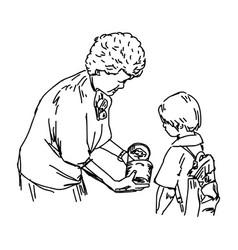 Senior woman giving a poor girl a gift vector