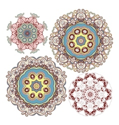 set of kaleidoscopic floral pattern vector image vector image