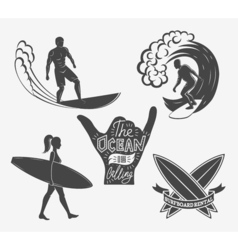 Set of surfing vintage design elements Surf logo vector image vector image