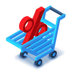Shopping cart percent sign icon isometric style vector