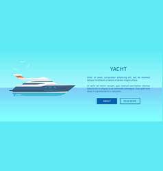 yacht rent advertisement poster web page design vector image vector image