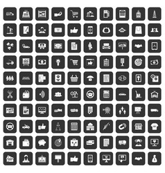 100 business icons set black vector image vector image
