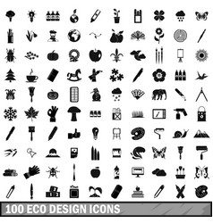 100 eco design icons set simple style vector