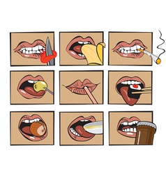 mouth eats vector image