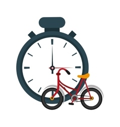 Analog chronometer and bike icon vector