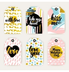 Trendy valentines day gift labels vector