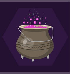 cartoon halloween witches cauldron with pink vector image
